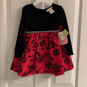NWT-Infant Girls Youngland Baby Red/Black Dress